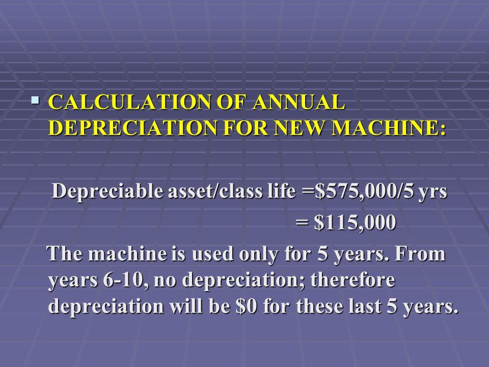 240,000 Cost decrease 240,000 Cost decrease ( 0) Depreciation increase ( 0) Depreciation increase 240,000EBIT 240,000EBIT (81,600)Taxes (34%) (81,600)Taxes (34%) 158,400EAT 158,400EAT 0Depreciation reversal 0Depreciation reversal 158,400 = Annual Cash Flow 158,400 = Annual Cash Flow For Years 6 - 8: Problem 2