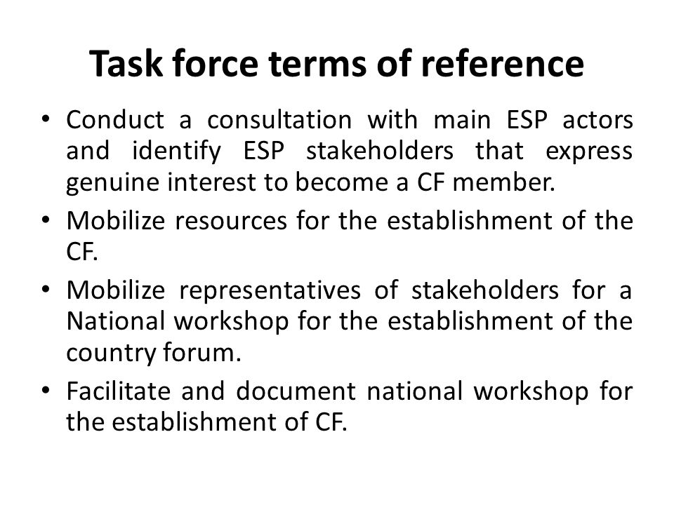 Task force terms of reference Conduct a consultation with main ESP actors and identify ESP stakeholders that express genuine interest to become a CF member.