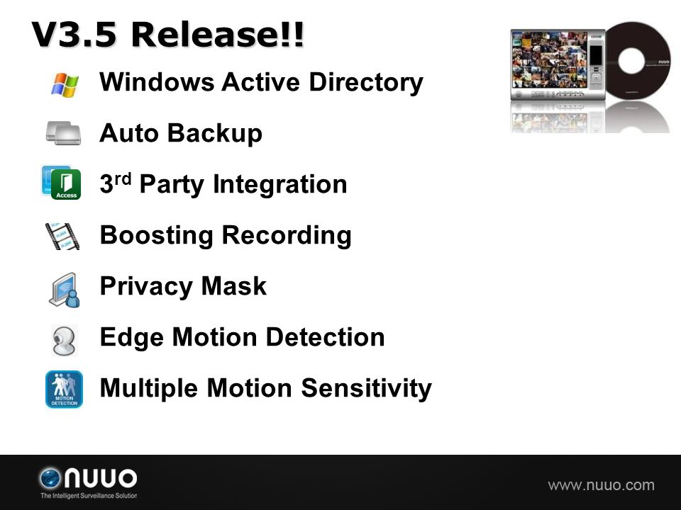 V3.5 Release!! Windows Active Directory Auto Backup 3 rd Party Integration Boosting Recording Privacy Mask Edge Motion Detection Multiple Motion Sensi