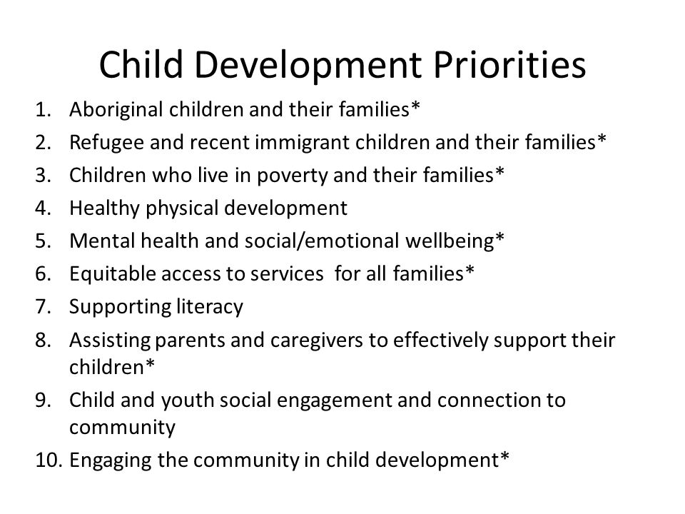 Child Development Priorities 1.Aboriginal children and their families* 2.Refugee and recent immigrant children and their families* 3.Children who live in poverty and their families* 4.Healthy physical development 5.Mental health and social/emotional wellbeing* 6.Equitable access to services for all families* 7.Supporting literacy 8.Assisting parents and caregivers to effectively support their children* 9.Child and youth social engagement and connection to community 10.Engaging the community in child development*