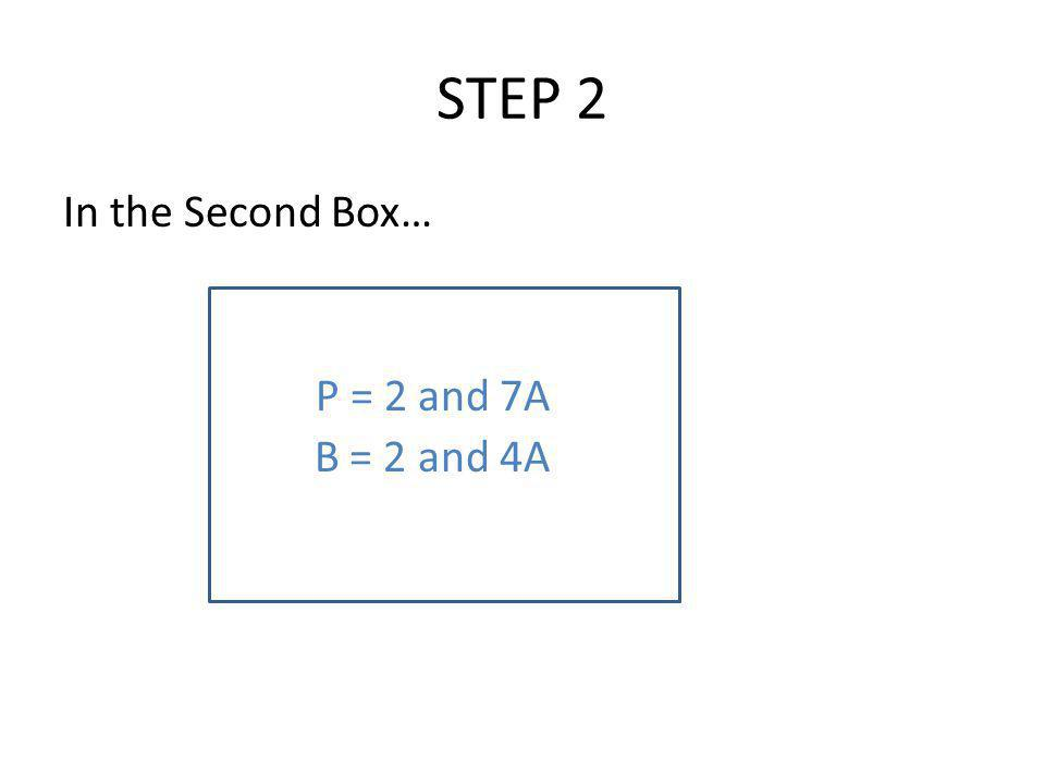STEP 2 In the Second Box… P = 2 and 7A B = 2 and 4A