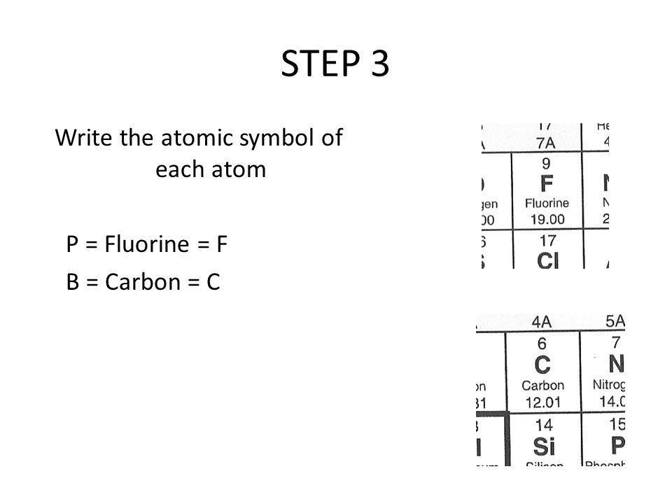 STEP 3 Write the atomic symbol of each atom P = Fluorine = F B = Carbon = C