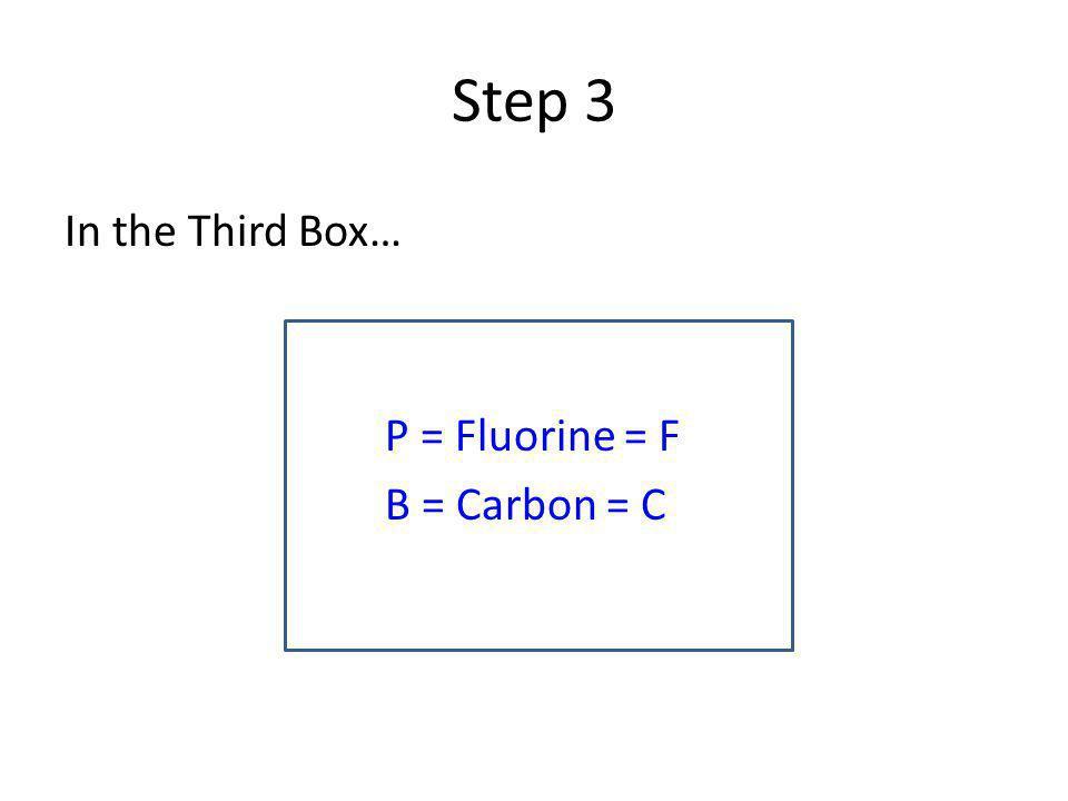 Step 3 In the Third Box… P = Fluorine = F B = Carbon = C