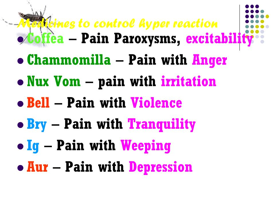 Medicines to control hyper reaction Coffea – Pain Paroxysms, excitability Chammomilla – Pain with Anger Nux Vom – pain with irritation Bell – Pain with Violence Bry – Pain with Tranquility Ig – Pain with Weeping Aur – Pain with Depression