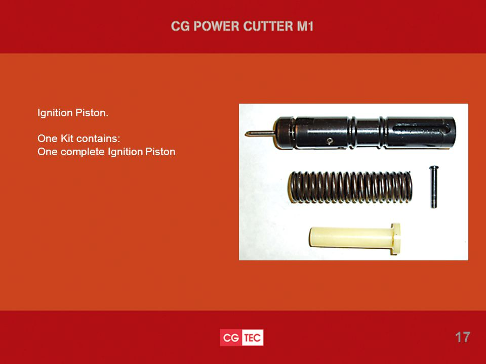 Ignition Piston. One Kit contains: One complete Ignition Piston 17