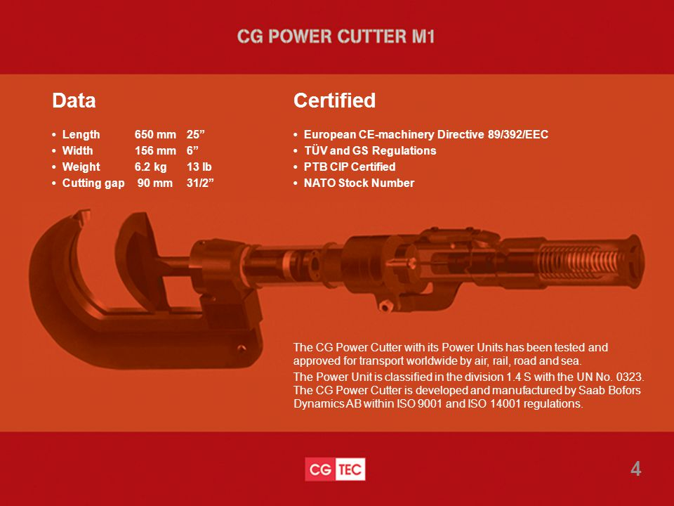 The CG Power Cutter with its Power Units has been tested and approved for transport worldwide by air, rail, road and sea.