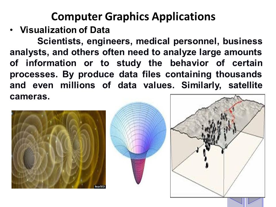 Computer Graphics Applications Visualization of Data Scientists, engineers, medical personnel, business analysts, and others often need to analyze large amounts of information or to study the behavior of certain processes.
