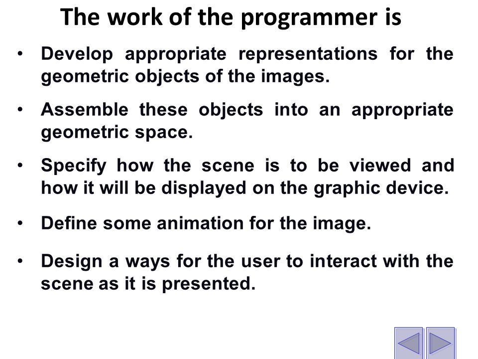 The work of the programmer is Develop appropriate representations for the geometric objects of the images.