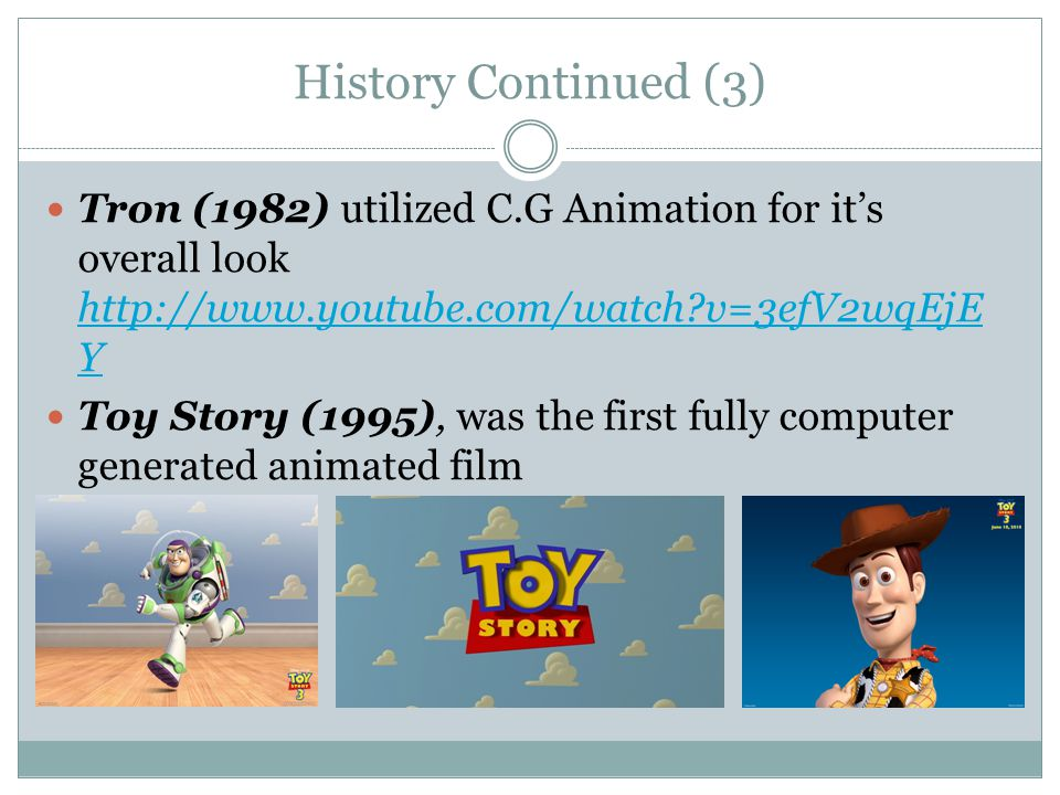 Influence CG animation development kicked off in the 80s.