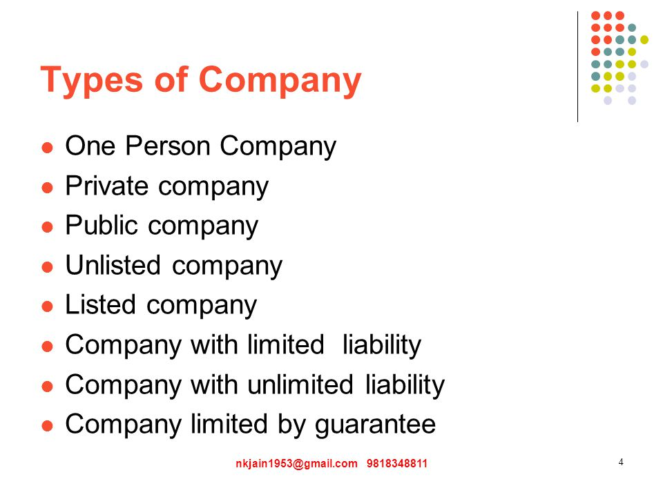 Types of Company One Person Company Private company Public company Unlisted company Listed company Company with limited liability Company with unlimited liability Company limited by guarantee nkjain1953@gmail.com 9818348811 4