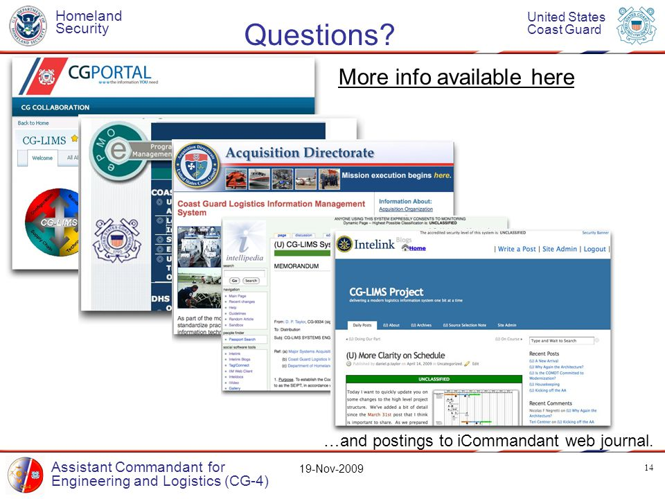 Homeland Security United States Coast Guard Assistant Commandant for Engineering and Logistics (CG-4) 19-Nov-2009 Questions.
