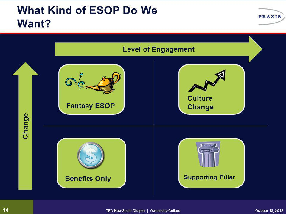 What Kind of ESOP Do We Want? Change Level of Engagement Culture Change Supporting Pillar Benefits Only Fantasy ESOP October 18, 2012TEA New South Cha