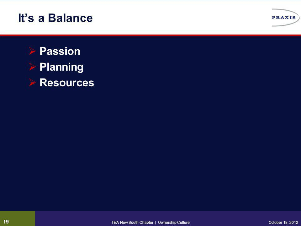 It's a Balance  Passion  Planning  Resources 19 October 18, 2012TEA New South Chapter | Ownership Culture