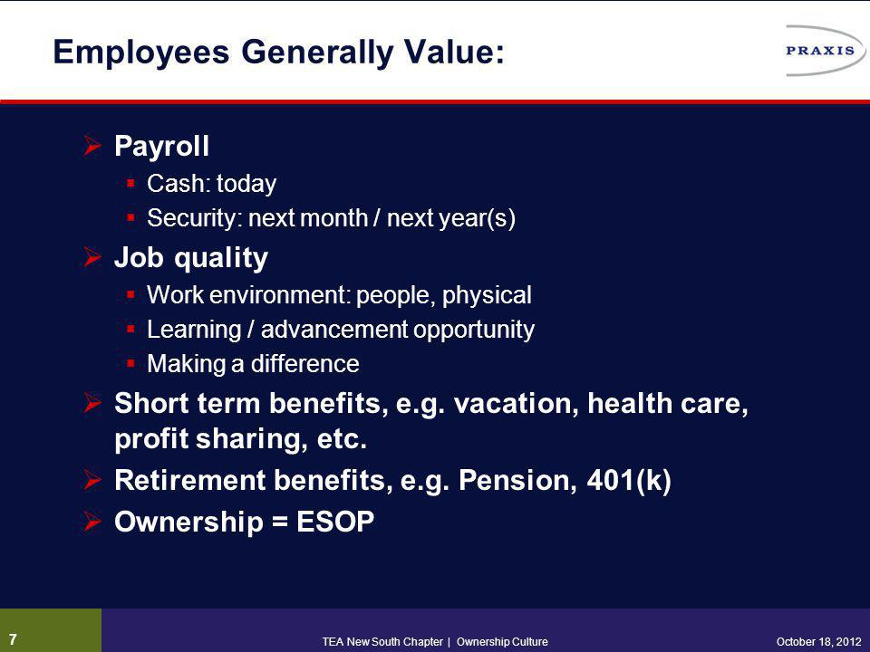 Employees Generally Value:  Payroll  Cash: today  Security: next month / next year(s)  Job quality  Work environment: people, physical  Learning