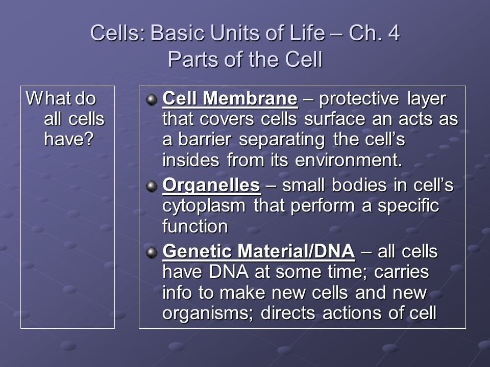 Cells: Basic Units of Life – Ch.4 Parts of the Cell What do all cells have.