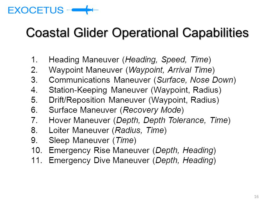 Coastal Glider Operational Capabilities 1.Heading Maneuver (Heading, Speed, Time) 2.Waypoint Maneuver (Waypoint, Arrival Time) 3.Communications Maneuver (Surface, Nose Down) 4.Station-Keeping Maneuver (Waypoint, Radius) 5.Drift/Reposition Maneuver (Waypoint, Radius) 6.Surface Maneuver (Recovery Mode) 7.Hover Maneuver (Depth, Depth Tolerance, Time) 8.Loiter Maneuver (Radius, Time) 9.Sleep Maneuver (Time) 10.Emergency Rise Maneuver (Depth, Heading) 11.Emergency Dive Maneuver (Depth, Heading) 16