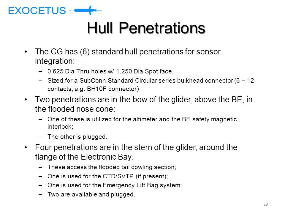 Hull Penetrations The CG has (6) standard hull penetrations for sensor integration: –0.625 Dia Thru holes w/ 1.250 Dia Spot face. –Sized for a SubConn
