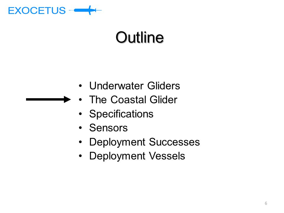 Outline Underwater Gliders The Coastal Glider Specifications Sensors Deployment Successes Deployment Vessels 6