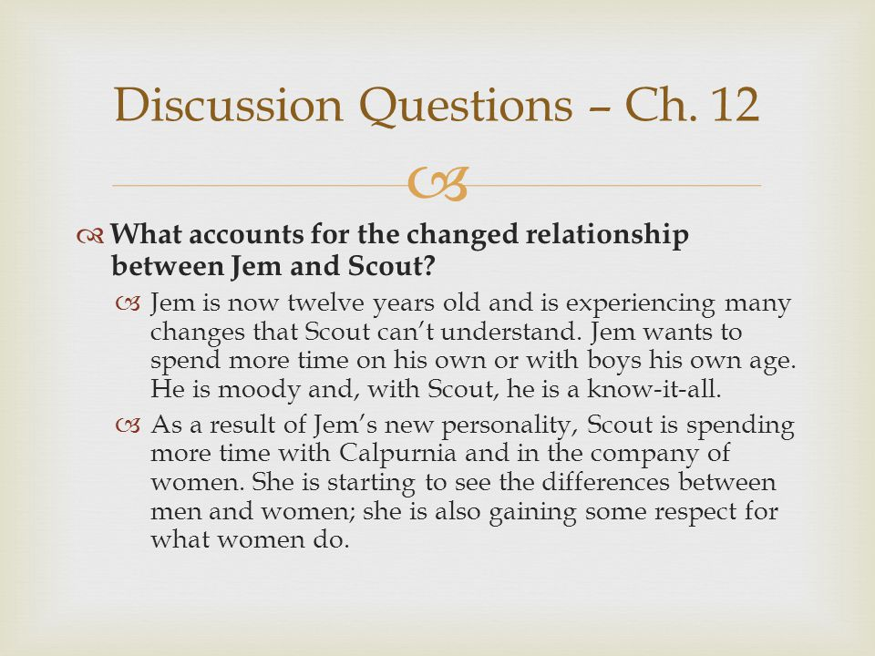   What accounts for the changed relationship between Jem and Scout?  Jem is now twelve years old and is experiencing many changes that Scout can't