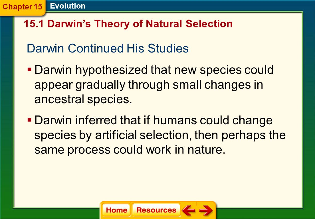 Darwin Continued His Studies Evolution  Darwin hypothesized that new species could appear gradually through small changes in ancestral species.