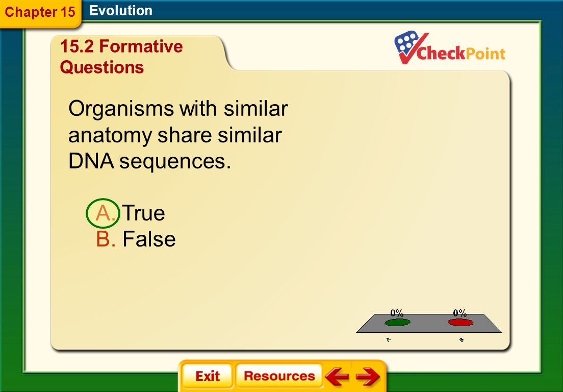 1.A 2.B FQ 8 Evolution Chapter 15 15.2 Formative Questions Organisms with similar anatomy share similar DNA sequences.