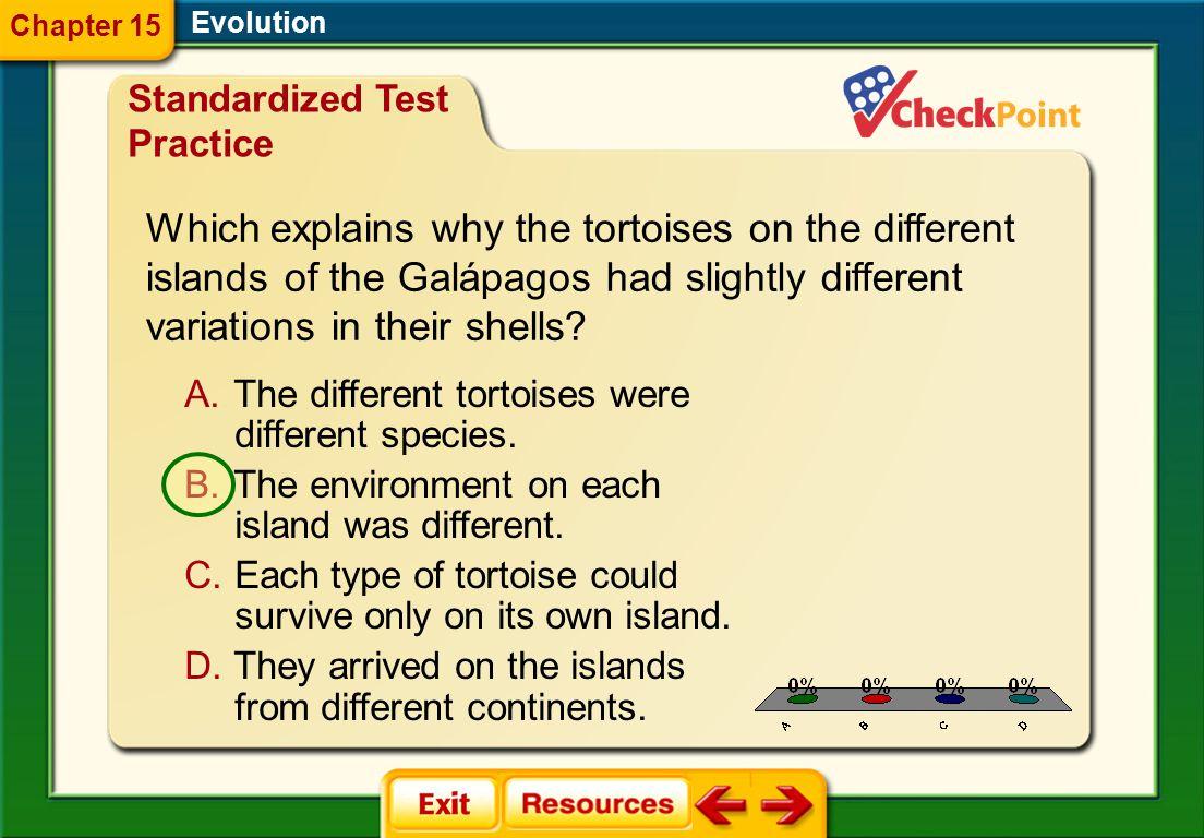 1.A 2.B 3.C 4.D STP 1 Evolution Chapter 15 A.The different tortoises were different species.