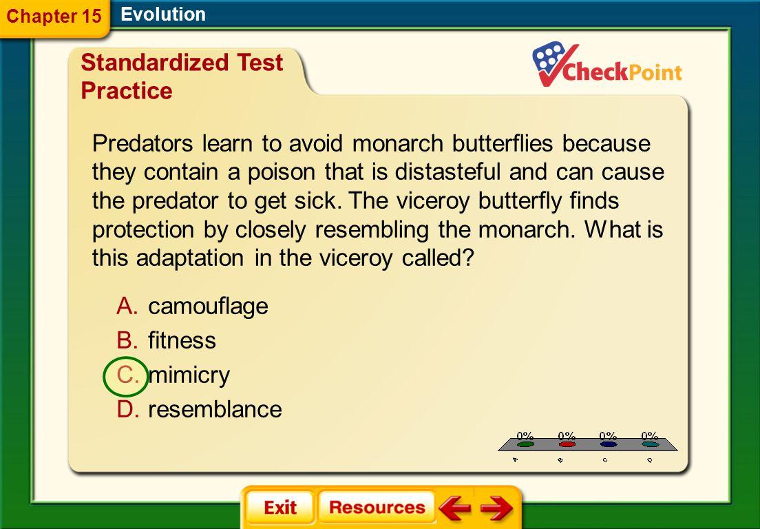 1.A 2.B 3.C 4.D STP 3 Evolution Chapter 15 Standardized Test Practice A.