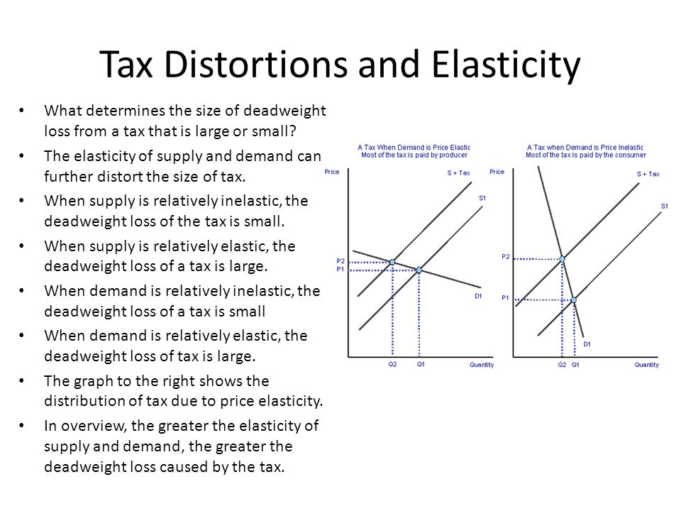 Tax Distortions and Elasticity What determines the size of deadweight loss from a tax that is large or small? The elasticity of supply and demand can