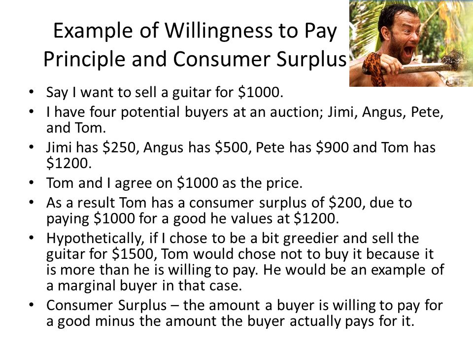 Example of Willingness to Pay Principle and Consumer Surplus Say I want to sell a guitar for $1000. I have four potential buyers at an auction; Jimi,