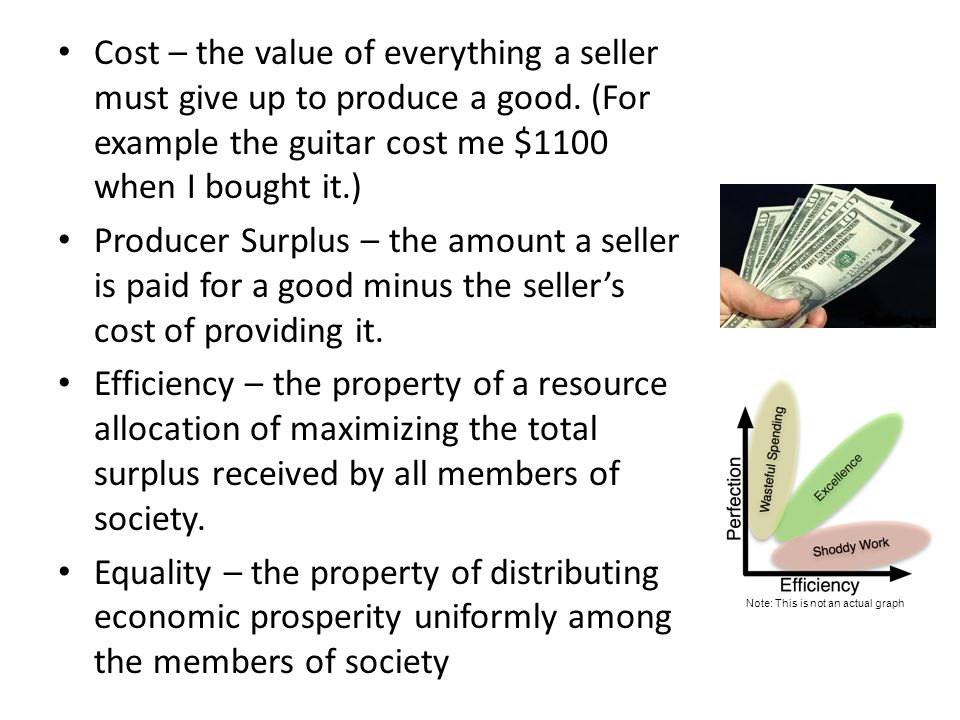 Cost – the value of everything a seller must give up to produce a good. (For example the guitar cost me $1100 when I bought it.) Producer Surplus – th