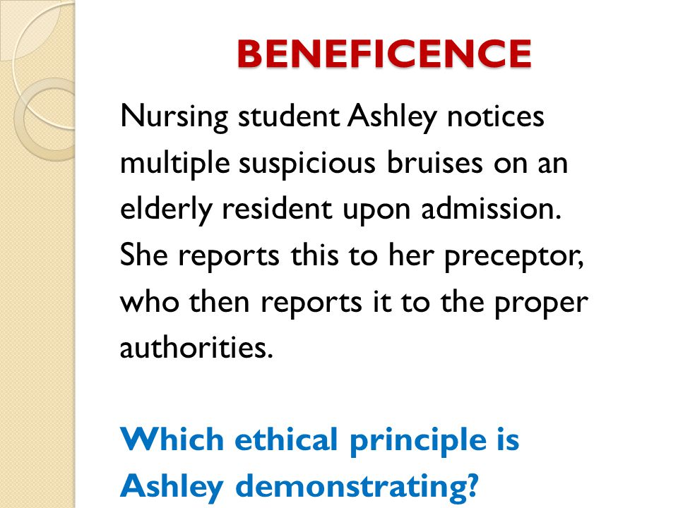 BENEFICENCE Nursing student Ashley notices multiple suspicious bruises on an elderly resident upon admission.