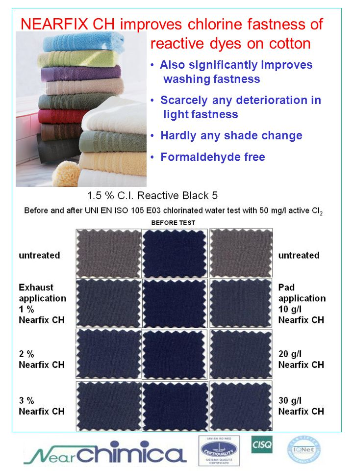 NEARFIX CH improves chlorine fastness of reactive dyes on cotton Also significantly improves washing fastness Scarcely any deterioration in light fastness Hardly any shade change Formaldehyde free