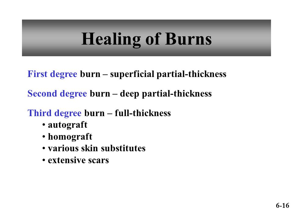 Healing of Burns First degree burn – superficial partial-thickness Second degree burn – deep partial-thickness Third degree burn – full-thickness auto