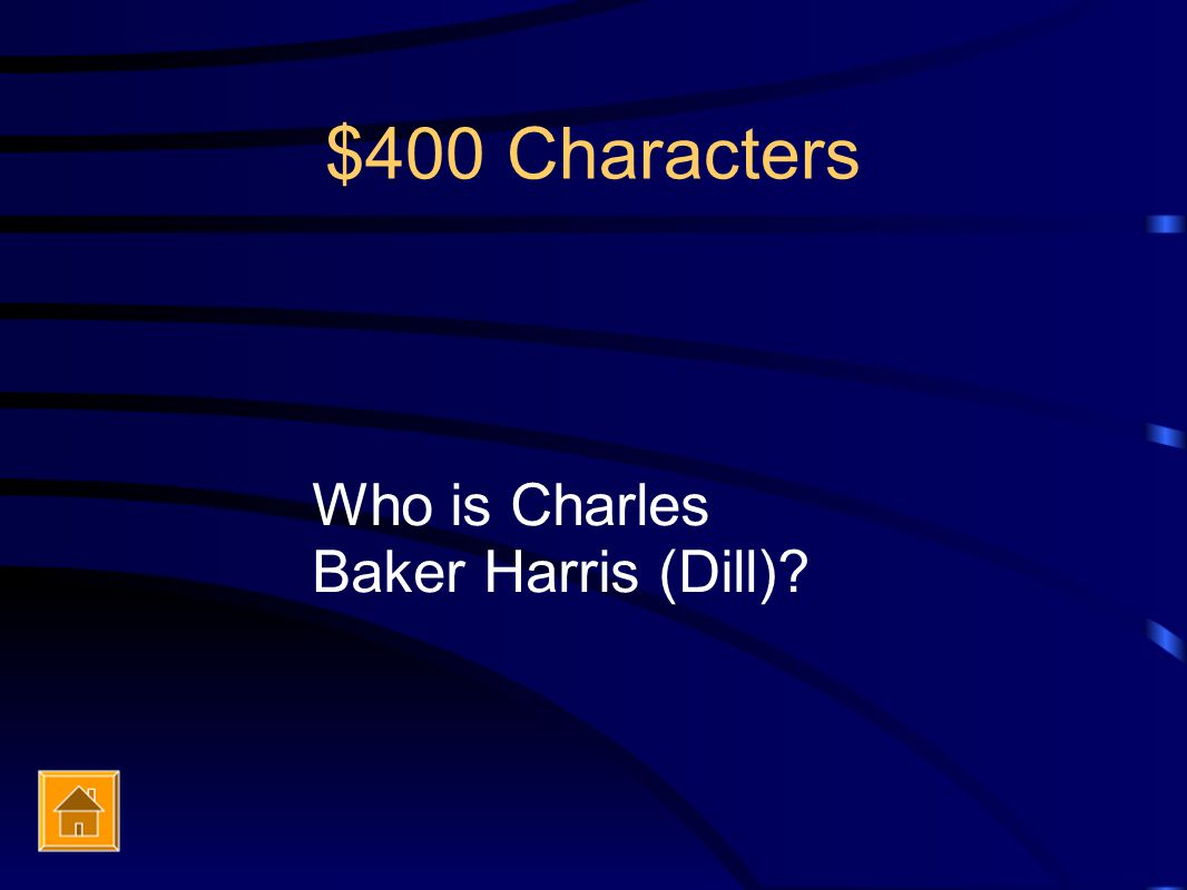 $400 Characters Who is Charles Baker Harris (Dill)?