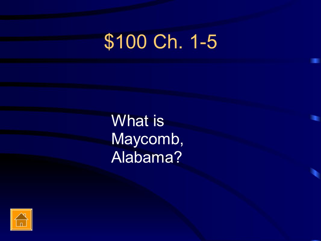 $100 Ch. 1-5 What is Maycomb, Alabama?