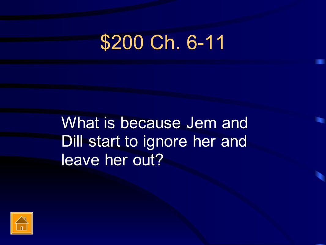 $200 Ch. 6-11 What is because Jem and Dill start to ignore her and leave her out?