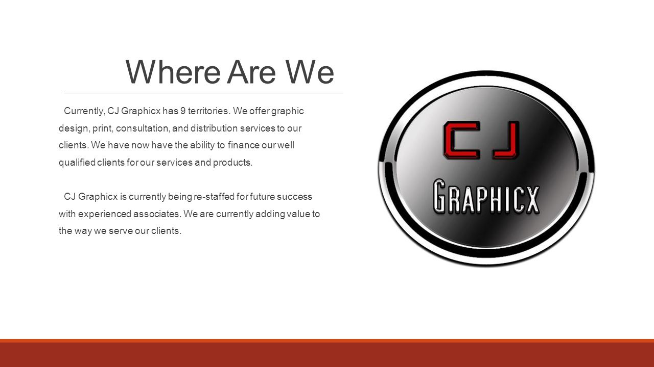 Where Are We Currently, CJ Graphicx has 9 territories.
