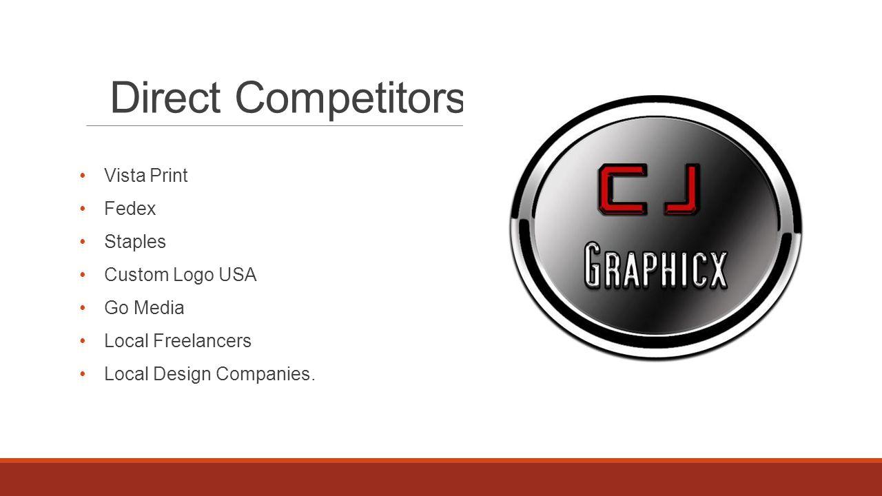 Direct Competitors Vista Print Fedex Staples Custom Logo USA Go Media Local Freelancers Local Design Companies.