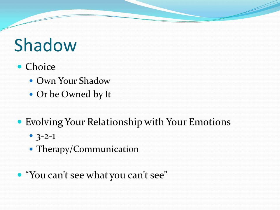 "Shadow Choice Own Your Shadow Or be Owned by It Evolving Your Relationship with Your Emotions 3-2-1 Therapy/Communication ""You can't see what you can'"
