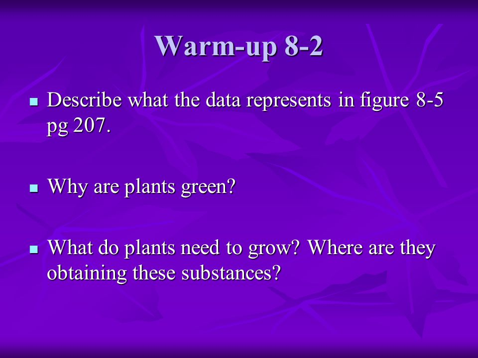 Warm-up 8-2 Describe what the data represents in figure 8-5 pg 207. Describe what the data represents in figure 8-5 pg 207. Why are plants green? Why