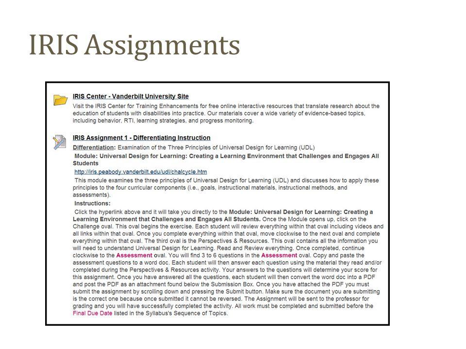 IRIS Assignments
