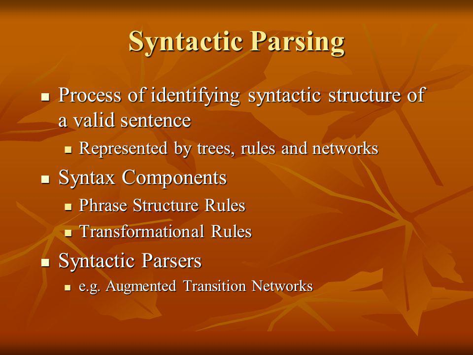 Syntactic Parsing Process of identifying syntactic structure of a valid sentence Process of identifying syntactic structure of a valid sentence Represented by trees, rules and networks Represented by trees, rules and networks Syntax Components Syntax Components Phrase Structure Rules Phrase Structure Rules Transformational Rules Transformational Rules Syntactic Parsers Syntactic Parsers e.g.