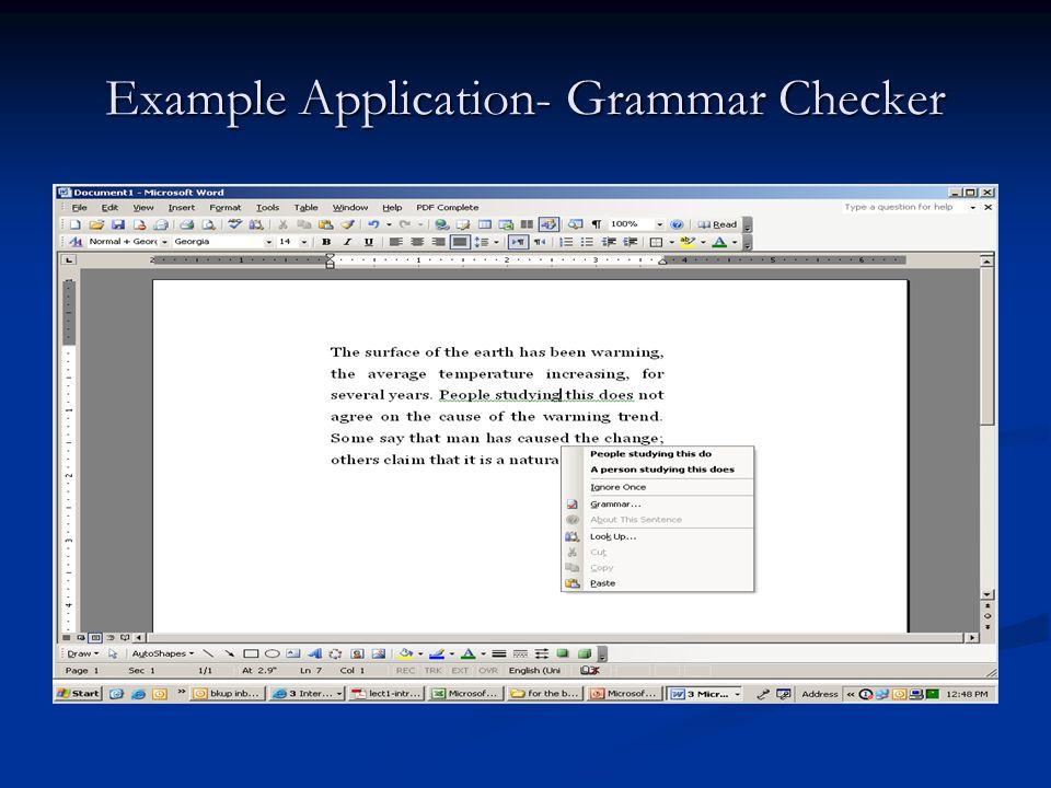 Example Application- Grammar Checker