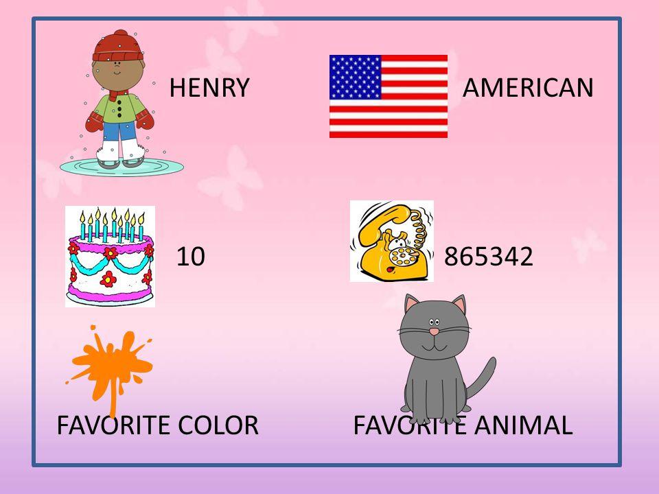 HENRY AMERICAN 10 865342 FAVORITE COLOR FAVORITE ANIMAL