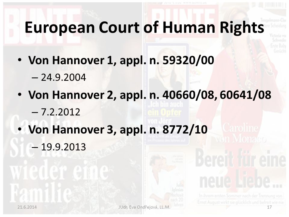 European Court of Human Rights Von Hannover 1, appl.