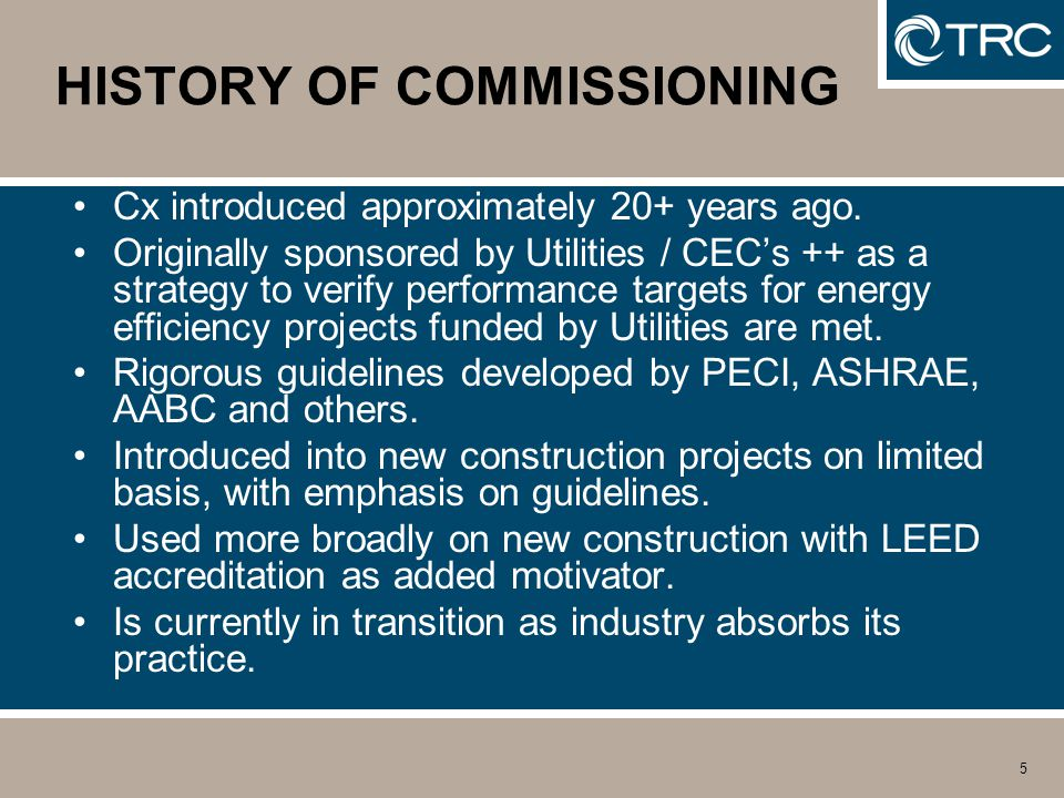 5 HISTORY OF COMMISSIONING Cx introduced approximately 20+ years ago.
