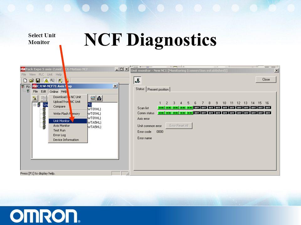 NCF Diagnostics Select Unit Monitor