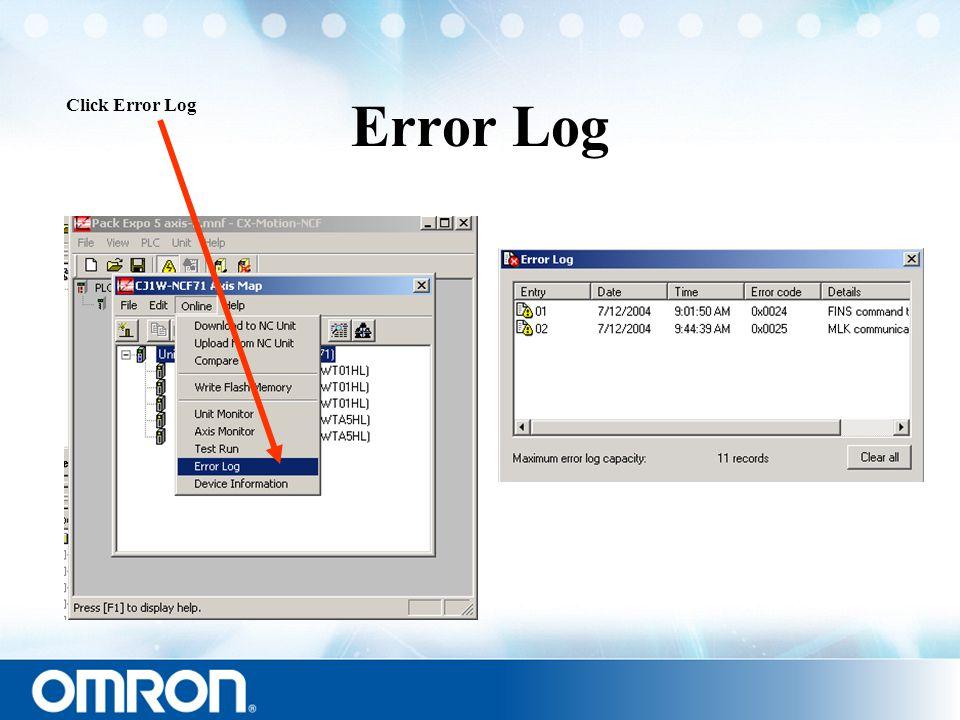 Error Log Click Error Log