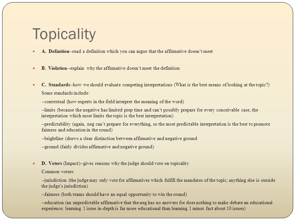 Topicality A.
