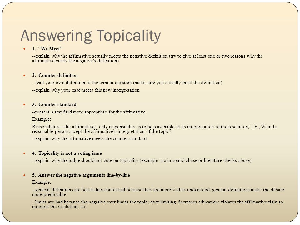 Answering Topicality 1.